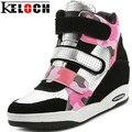 KELOCH Mujeres Aumento de la Altura Cuñas Cordón Zapatos con Alzas Ocasionales Femeninos Zapatos High-Top Botas de Cuña de Las Mujeres Zapatos Casuales