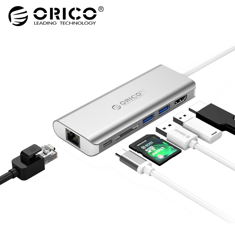 ORICO 6 in 1 USB C HUB USB-C to HDMI Card Reader RJ45 PD Adapter for MacBook Samsung Galaxy S9 /S8 Huawei Mate10 Type-C Charging 7 in 1 usb c type c hub to hdmi sd tf card reader usb 3 0 rj45 pd charging adapter for macbook samsung galaxy usb c hub