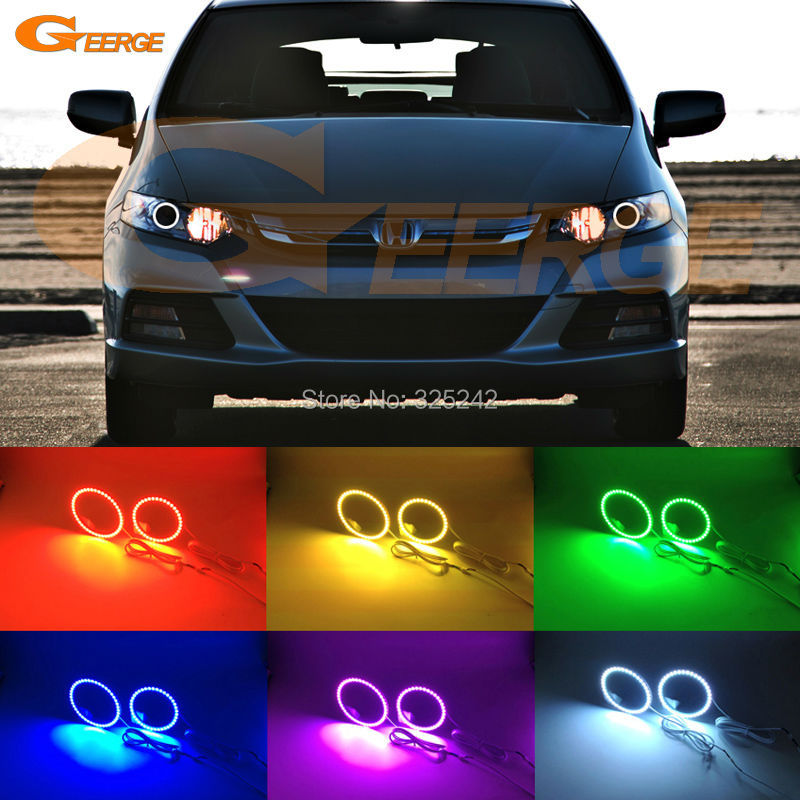 For Honda INSIGHT 2010 2011 2012 2013 2014 2015 Excellent Multi-Color Ultra bright RGB LED Angel Eyes kit Halo Ring for lifan 620 solano 2008 2009 2010 2012 2013 2014 excellent angel eyes multi color ultra bright rgb led angel eyes kit