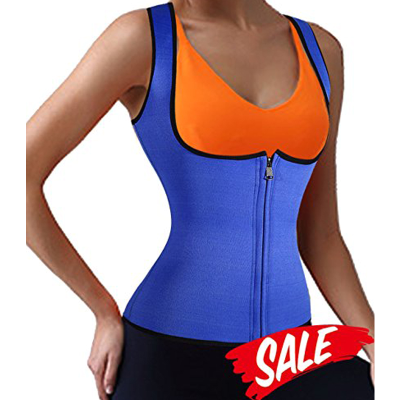 YUMDO New Sauna Vest Suit Zipper Front Neoprene Waist Trainer Top Sweat Slimming Shirt for Weight Loss Women Shapewear