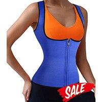YUMDO New Sauna Vest Suit Zipper Front Neoprene Waist Trainer Top Sweat Slimming Shirt For Weight