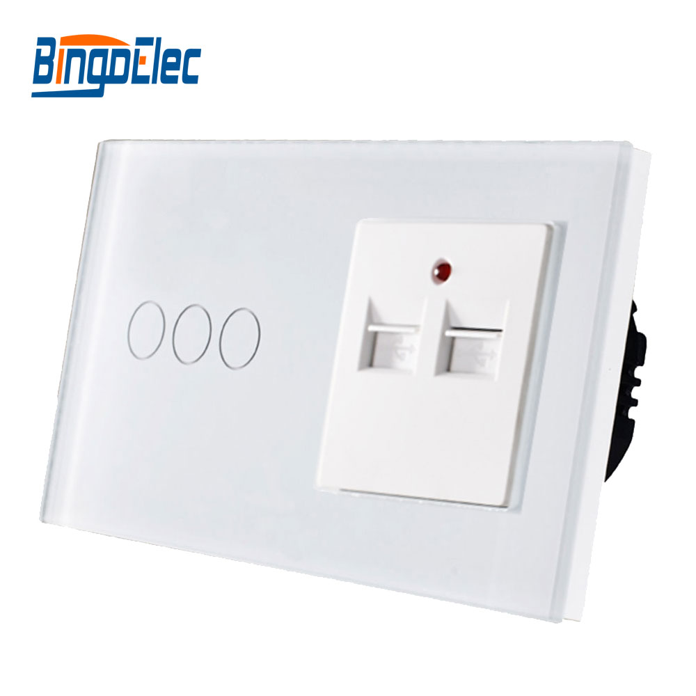 цена на High Quality CE certification Glass Panel 3gang 1way Touch switch and 3.1A 3100MA USB socket