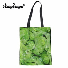 NoisyDesigns 3D Leaf Pattern Fashion Women Eco Reusable Canvas bags Girls Handbags Shopping bag Foldable Tote Hand Bag