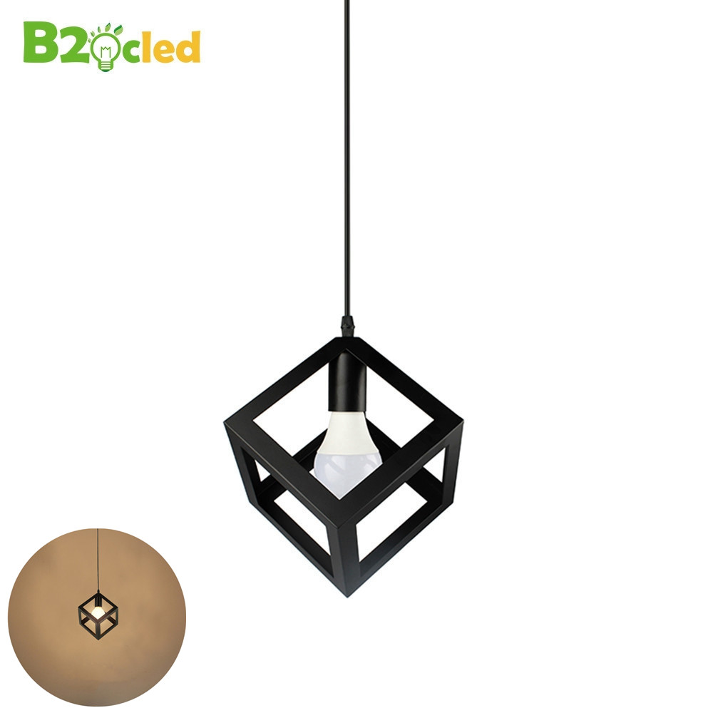 Europe Simple art square pendant light LED iron Hanging lamp Modern fashion Furniture lighting black white ceiling for bedroom modern fashion large spider braided chandeliers white black fabric shades diy 10 heads clusters of hanging ceiling lamp lighting