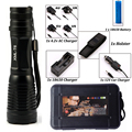 LED CREE XM-L T6 Flashlight Zoomable Torch 8000Lumens Tactical Flashlight Camping Light Lamp +18650 Battery+Charger