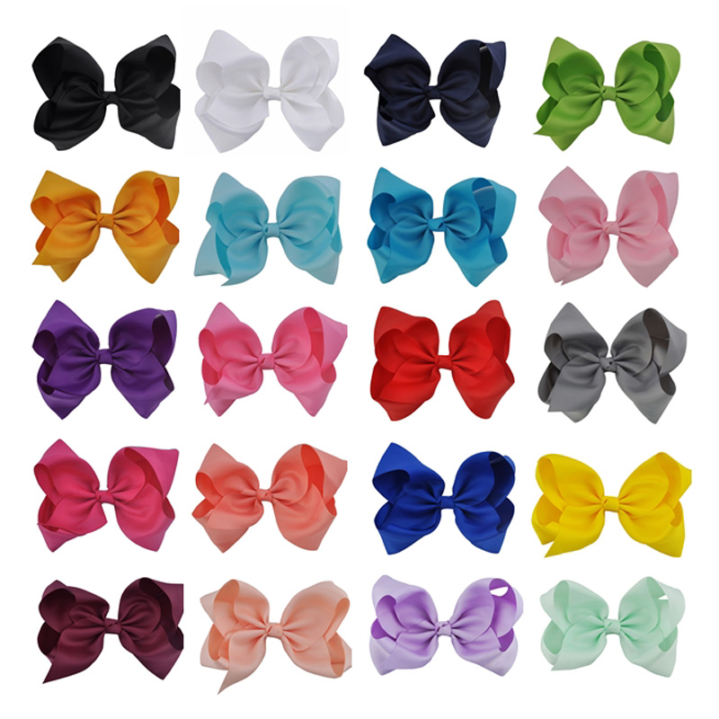 цены 20pcs 8 Inch Large Solid Children Hair Bow fashion Ribbon Hair Clips Hairpins Barrette Bowknot Headwear For Girl/Women Wholesale