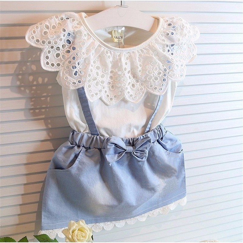 Lollas Fashion Girls Summer Clothes Dresses Cute Girls Cowboy Short Sleeve Bow Cotton Baby Kids Girls Ball Dress