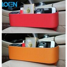 LOEN 2PCS! PU Leather Catcher Box Car Seat Gap Slit Storage Organizer Coin Box Car Seat Gap Pocket Holder for Coin Cellphone Key