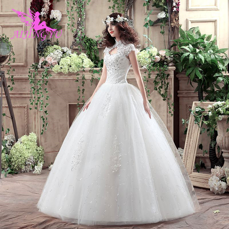 AIJINGYU 2018 Beautiful Free Shipping New Hot Selling Cheap Ball Gown Lace Up Back Formal Bride Dresses Wedding Dress WK258
