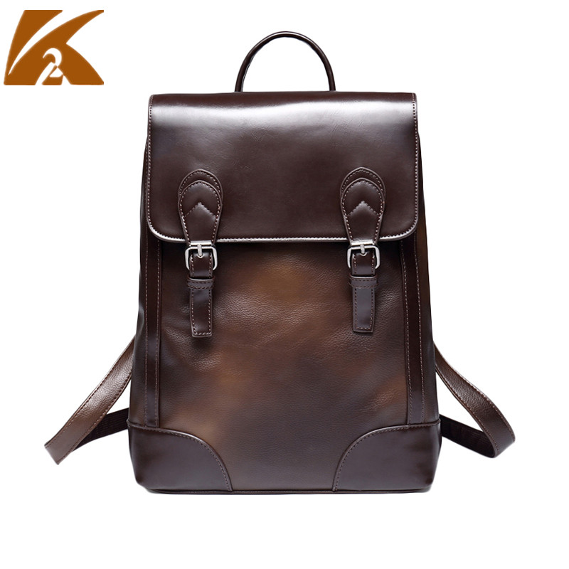 2018 Vintage Men Genuine Leather Backpack 14 Laptop Bagpack Students School Bags Male Casual Business Shoulder Bags Travel Bag 14 15 15 6 inch flax linen laptop notebook backpack bags case school backpack for travel shopping climbing men women