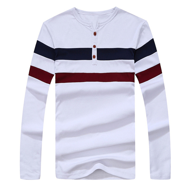 2016 New Men Long Sleeve T Shirt Men Cotton Casual Striped T-shirt Men O Neck Pullover tshirt Brand Clothing Plus Size M-XXXL