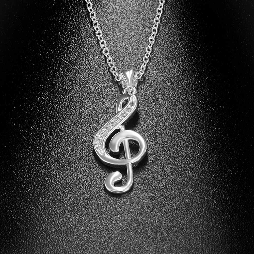 1PC nouveau mode Note de musique colliers pendentif argent chaîne Chokers femmes incrusté Zircon mariage cristaux Bijoux Bijoux cadeau