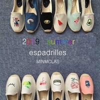 Для женщин espadrille вышитая обувь удобные шлёпанцы для дамы s повседневная обувь дышащая льняная конопли холст Синий Фламинго
