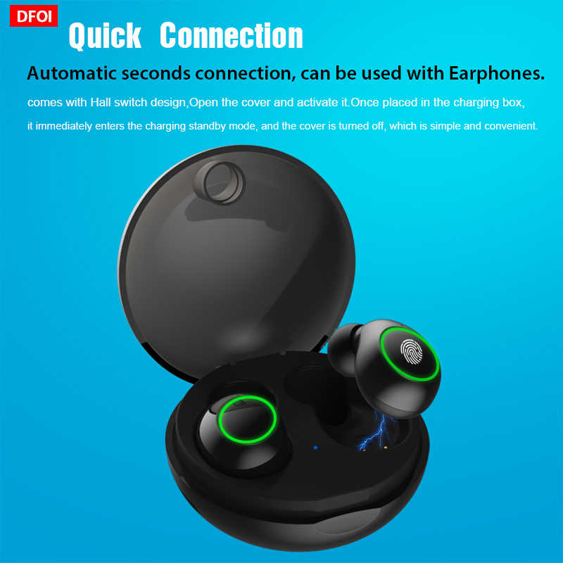 DFOI JS19, Bluetooth наушники, настоящие беспроводные Bluetooth наушники, 5,0, Спортивная гарнитура, TWS наушники, беспроводные наушники с микрофоном