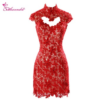 Alexzendra High Neck Beaded Mini Lace Prom Dresses Appliqued O Back Short Party Dresses Plus Size