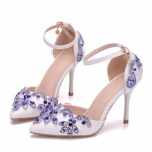New 2018 Summer Spring Blue Pearls Ankel Strap Bridal Wedding Shoes Thin Heels Pointed Toes Ladies White Sandals XY-A0121