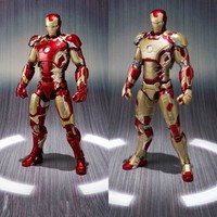 Hot Sale The Avengers SHF Ironman MK42$ MK43 Red And Golden Ironman Figure Action Toys Collection Dolls For Birthdays Gifts 16CM