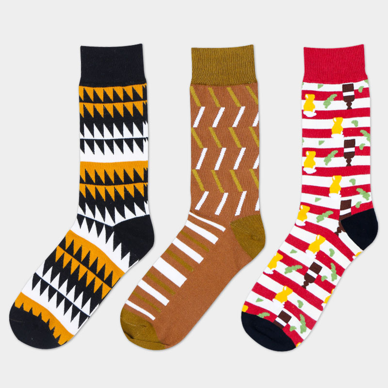 2017 new arrive high quality combed cotton spring autumn creative tide happy skateboard long brand men socks