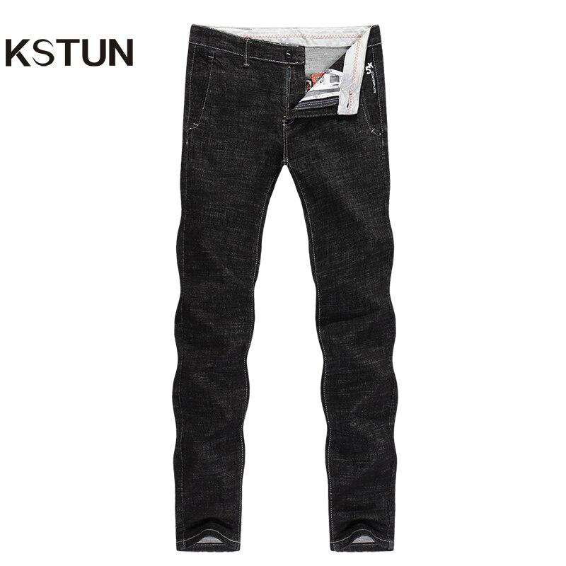 KSTUN Solid Black Jeans Men 2019 Autumn Stretch Business Casual Male Denim Pants Fashion Pockets Letters Designer Jeans Homme