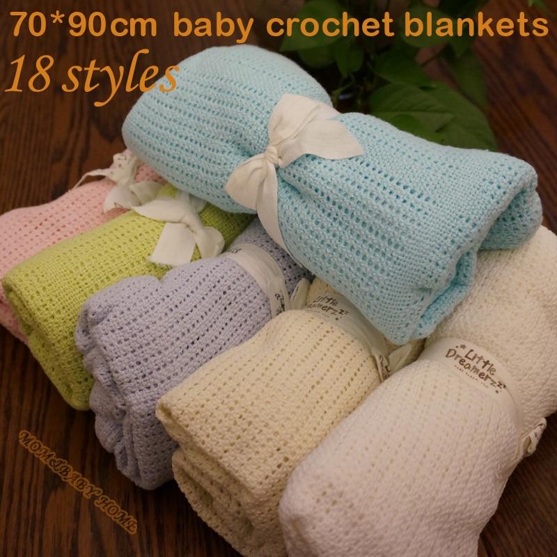 Super Soft Cotton Crochet Baby Blanket 70 * 90cm Sommardukar Nyfödda Prop Mantas och Cobertores Spjälsäng Tillfälligt Sovhål WrapZ