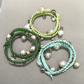 Green  color Baroque Natural Fresh water Pearl Bracelet Charms  with crystal leather bracelet Casual