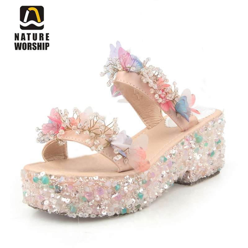 Genuine Leather women sandals rural sweet style women shoes butterfly beading crystal wedges shoes high heel sandals dress shoes bohemian style beading and wedge heel design sandals for women