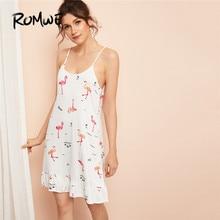цена ROMWE Flamingo Print Ruffle Trim Cami Summer Night Dress Women Sleeveless Casual Sleepwear Loose Straight Ladies Sleep Wear