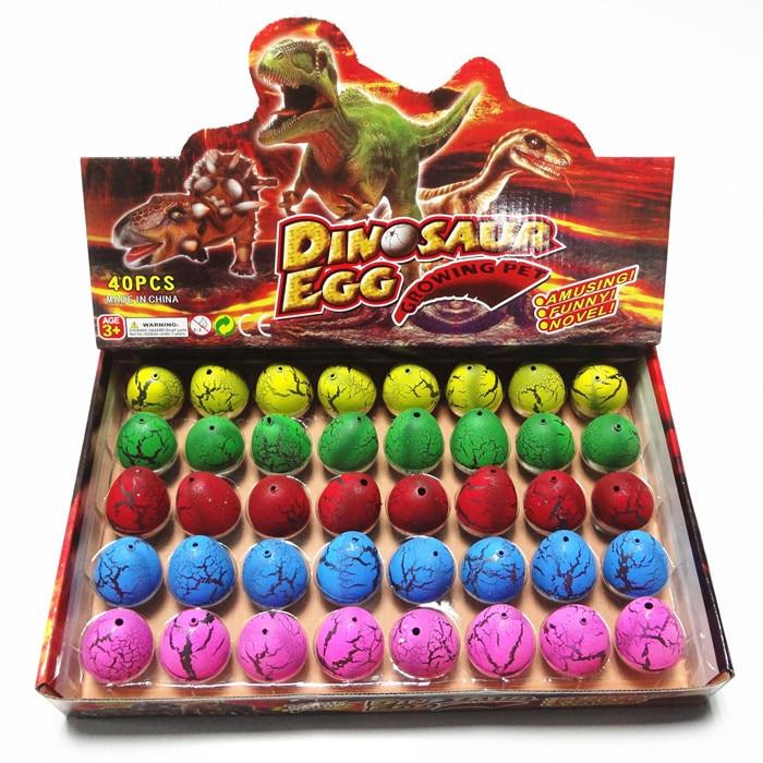 40-60pcs / set 소설 물 부화 인플레이션 공룡 계란 수채화 균열 성장 계란 교육 완구 재미있는 선물