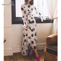 AEL Chiffon Dress Long Ruffles Dresses Ladies Pagoda Sleeve O Neck Beach Dot Ruffle Casual Dress Women Sundress