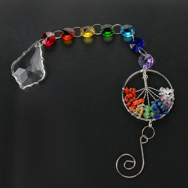 H&D The Tree of Life Crystal Ball Suncatcher Pendant Rainbow Chandelier Decor Chakra Hanging Prism Ornaments For Window