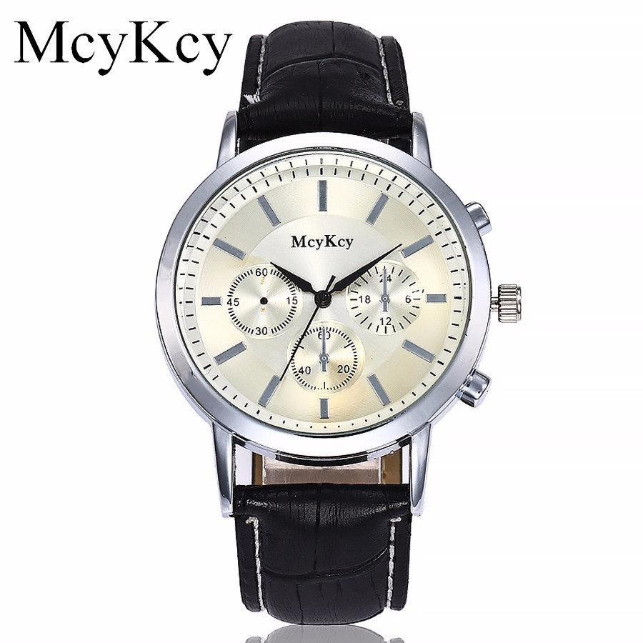 McyKcy Brand Fashion Quartz Watch Men Watches Top Brand Luxury Male Clock Leather Business Mens Wrist Watch Relogio Masculino mens watch top luxury brand fashion hollow clock male casual sport wristwatch men pirate skull style quartz watch reloj homber