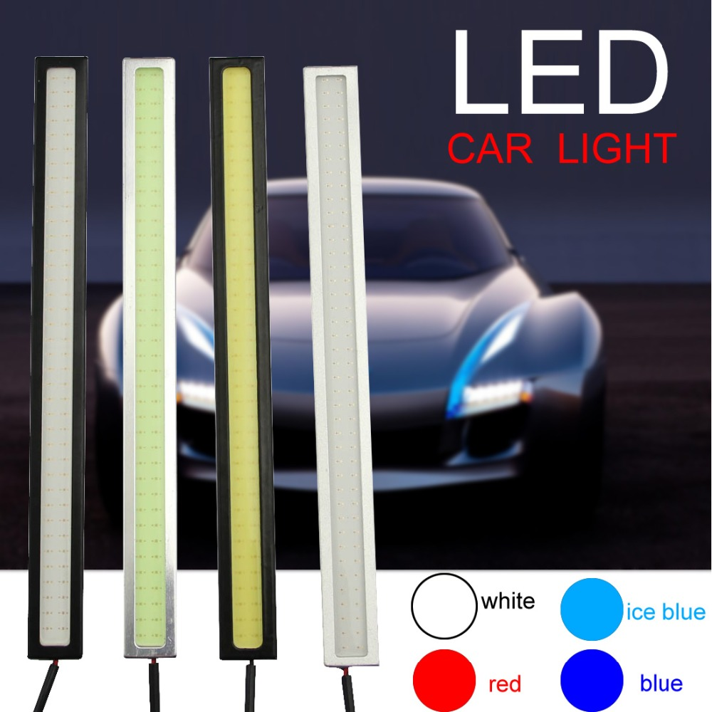 1pcs 17cm 12V Ultra-thin COB Chip LED Car Auto DRL Daytime Driving Running Fog Light Lamp