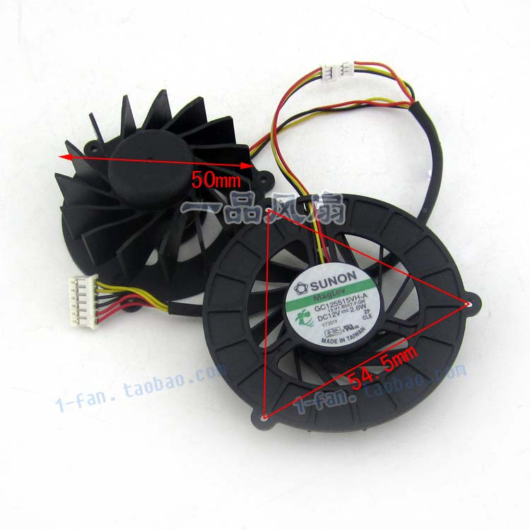 Original SUNON 12V GC125515VH-A 2.6W 1.9W 6 line laptop casual fan one pair one pair of 12v waterproof