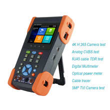 New 3.5 inch screen H.265 4K IP tester 5MP TVI IP CCTV tester with BNC Cable tracer test ,Optical power meter ,digital multimter