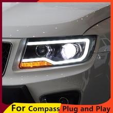 KOWELL Auto Styling für JEEP Kompass 2011 2015 LED Scheinwerfer für Kompass Kopf Lampe LED Tagfahrlicht LED DRL Bi Xenon HID