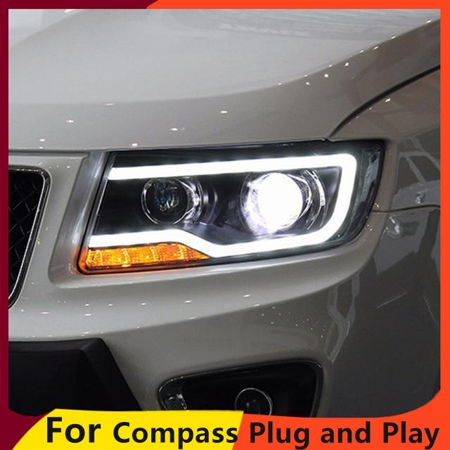 KOWELL luz LED para JEEP Compass 2011 2015, faro delantero, luz LED de conducción diurna, LED DRL bi xenón HID