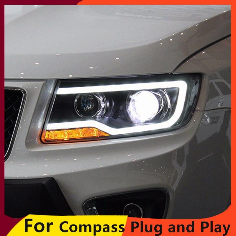 KOWELL style de voiture pour JEEP boussole 2011-2015 phare LED pour boussole phare LED feux de jour LED DRL bi-xénon HID