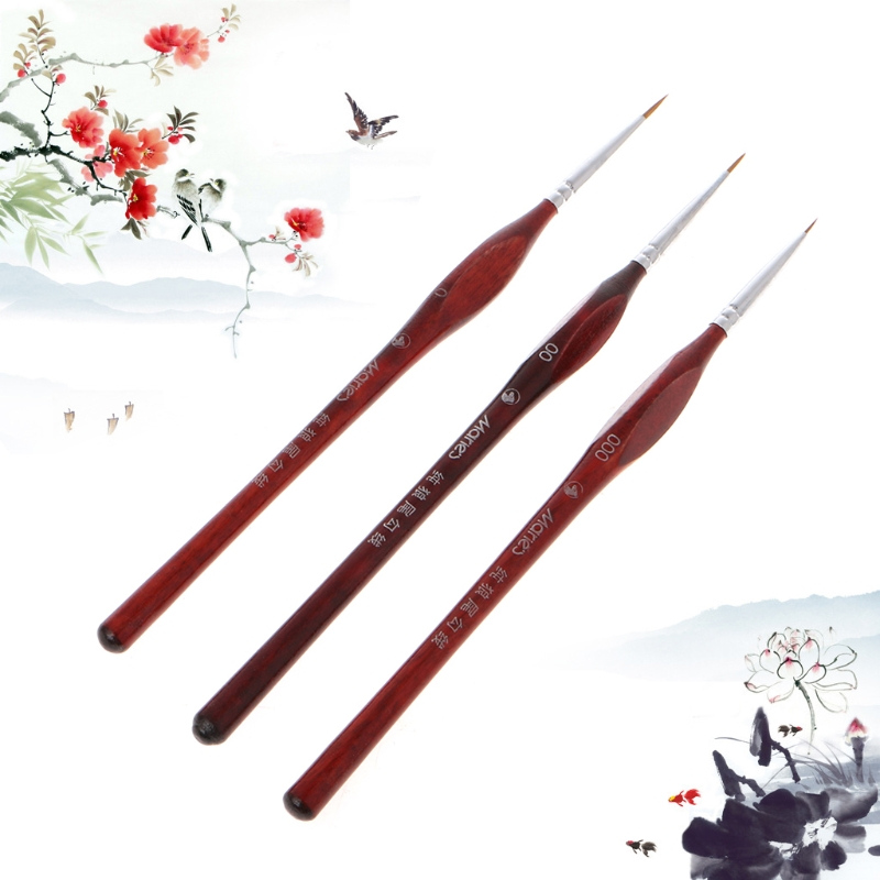 3Pcs/Set Watercolor Gouache Paint Brushes Set Fine Detailing 0~000 Pointed Tip Wolf Hair Painting Brush Set Art Supplies