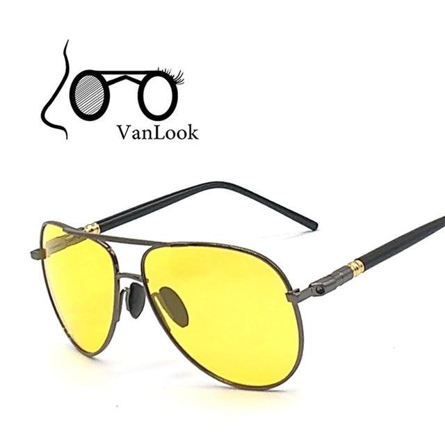 c67c3d4c4f822 Amarelo óculos de Sol Dos Homens Polarizados Polaroid Para Dirigir À Noite  No Escuro Homem Óculos