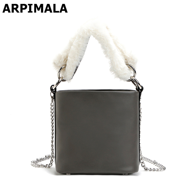 a0fe4acfd5c0 ARPIMALA 2017 Autumn   Winter Bucket Bags Gray Leather Faux Fur Handbags  Fashion Small Tote Women