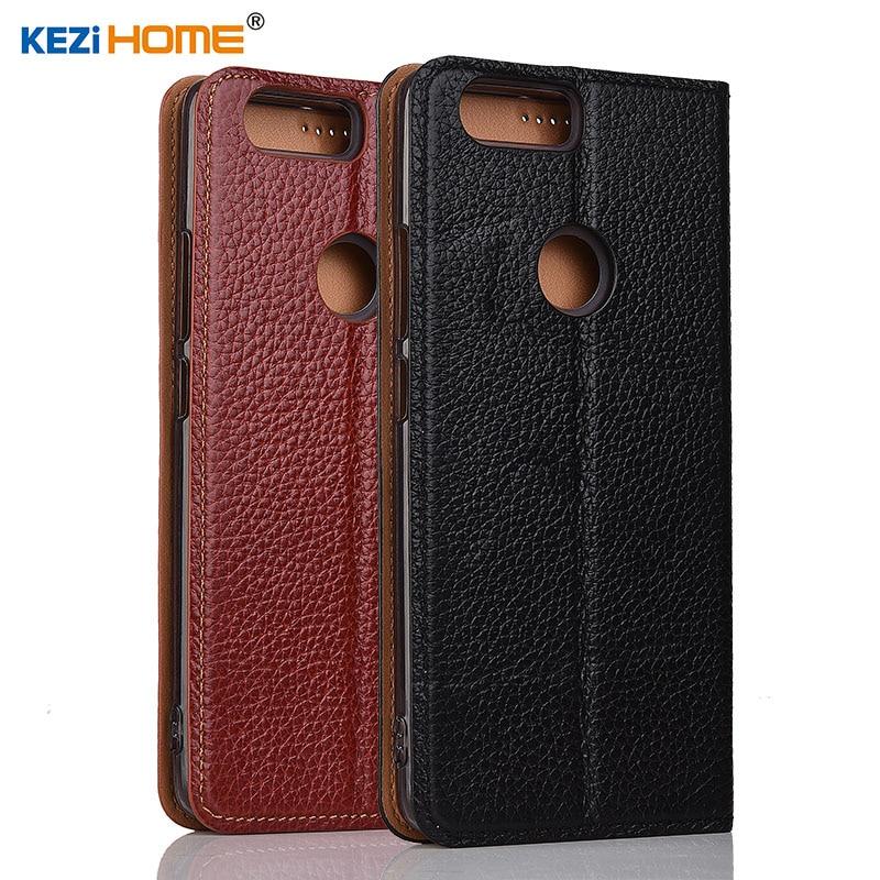 ZTE Nubia Z17 cas KEZiHOME Litchi En Cuir Véritable Flip Stand Couverture en cuir capa Pour ZTE Nubia Z17 5.5 ''Téléphone cas coque