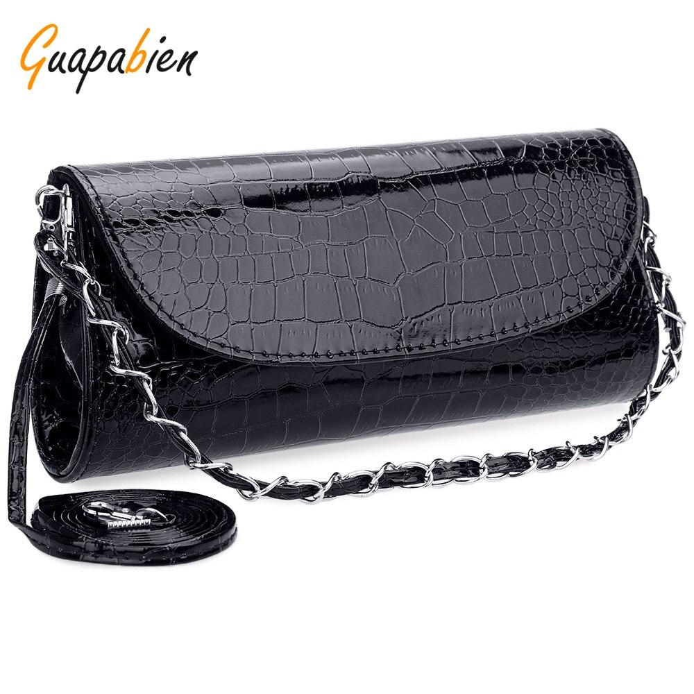Guapabien Negro Elegante Noche de Las Mujeres Bolsa de Cuero de Cocodrilo Mini E