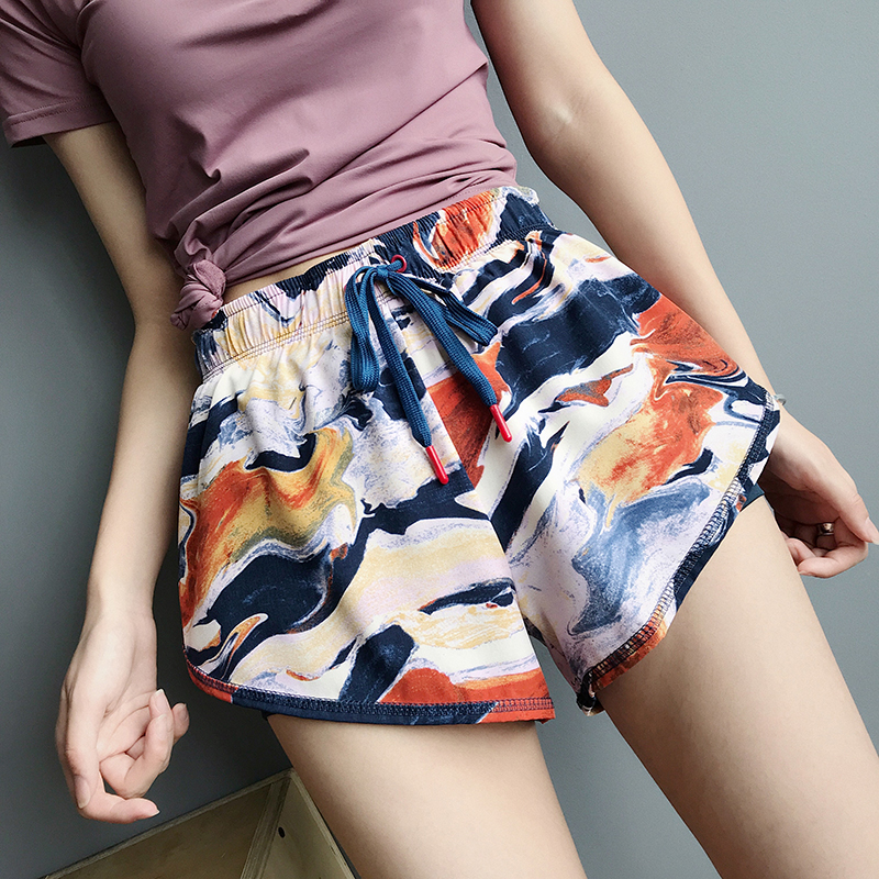 New Print  Quick Drying Sports Shorts Women Fitness Sport Short  Running  Shorts Female Gym Athletic Shorts Workout Clothing