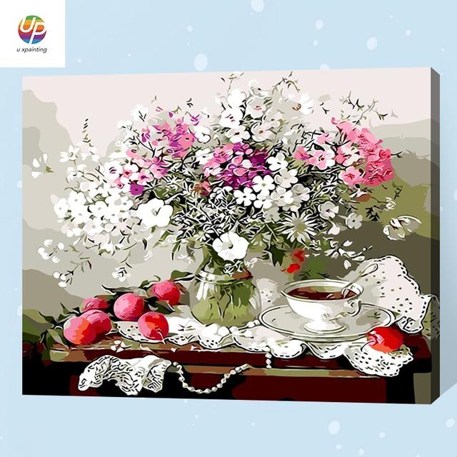 Us 1031 35 Offfolwer Vase Obst Diy Malen Nach Zahlen Auf Leinwand Kits Acrylmalerei Für Hause Wandkunst Bild Artwork Frei Schiff In Folwer Vase