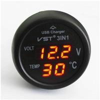 Carro LEVOU Voltímetro Medidor de Auto 3in1/12 V Medidor de Temperatura Da Tensão de 24 Volts com carregador de carro USB
