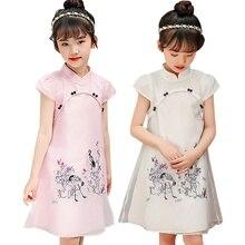 ece463729 Balita Bayi Anak-anak Gadis Pakaian Imut Bordir Gaun Cetak Gaya Cina  Vintage Cheongsam Gaun