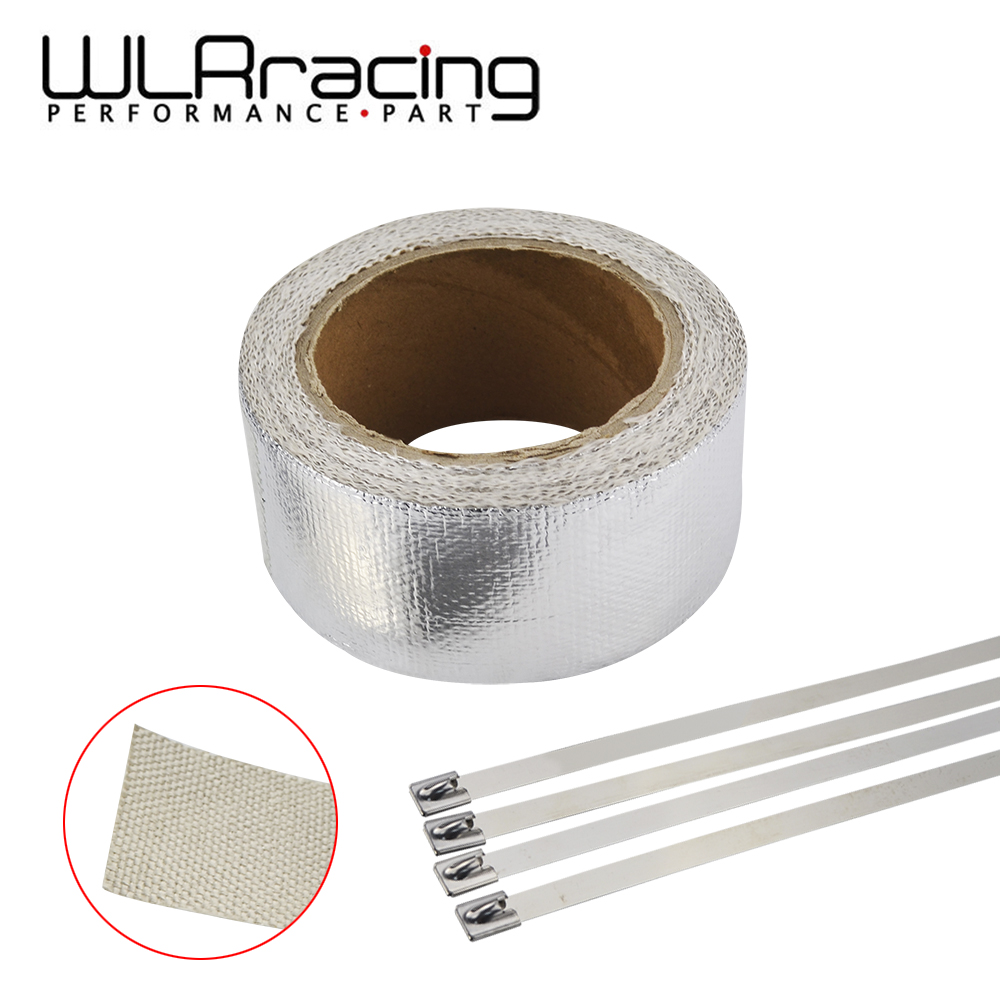 WLR RACING - Car Aluminum Reinforced Tape Heat Shield Resistant Wrap For All Intake pipe / Suction Kit WITH 4PCS TIES WLR1611