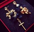 2016 Exaggerated Baroque Pearl Crystal Hollow flower Cross Angel Asymmetric Earrings Tassel Heart Long Vintage for women jewelry