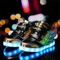 СВЕТОДИОДНЫЕ Обувь Свет Вспышки Световой Унисекс Обувь Большой Крыло крюк и Toop Высокие Верхние Дети 11 Цвет USB Chagring MaiDun 2016