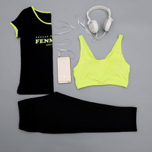 3 piece Bra T shirt Pants Shorts Breathable Fitness Comfortable Classic Women Yoga Set Outdoor Gym
